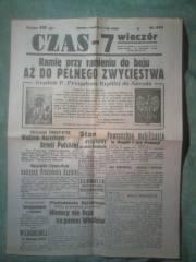 """Gazeta """"Czas"""" wydanie z 1 września 1939"""