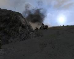 uciekający Siebak przed moździerzem